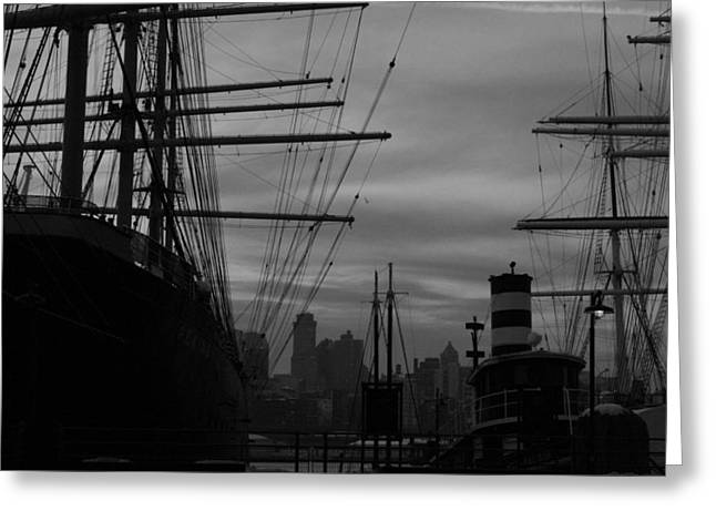Peking Greeting Cards - Black and White Seaport Greeting Card by Christopher Kirby