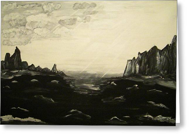 Quite Mixed Media Greeting Cards - Black and white seascape Greeting Card by Carmen Kolcsar