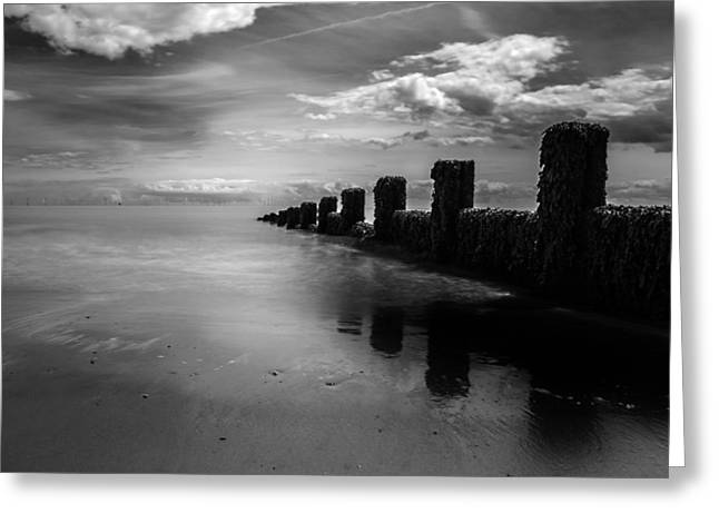 North Sea Greeting Cards - Black and White Seascape Greeting Card by Martin Newman