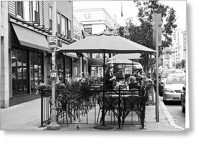 Black And White Sidewalk Cafe Greeting Card by Mary Ann Weger