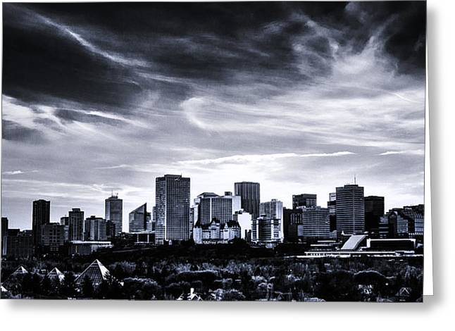 Edmonton Greeting Cards - Black and White Skyline Greeting Card by Ian MacDonald