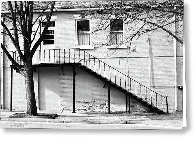 Fredricksburg Greeting Cards - Black and White Stairway.  Greeting Card by Ashley Knowles