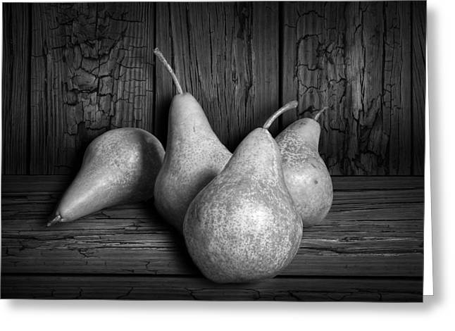 Randy Greeting Cards - Black and White Still Life of Four Bartlett Pears Greeting Card by Randall Nyhof