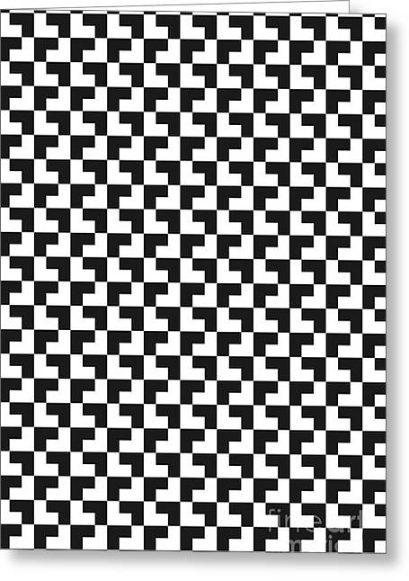Black And White Tessellation Illustration Greeting Card by Melissa Fague