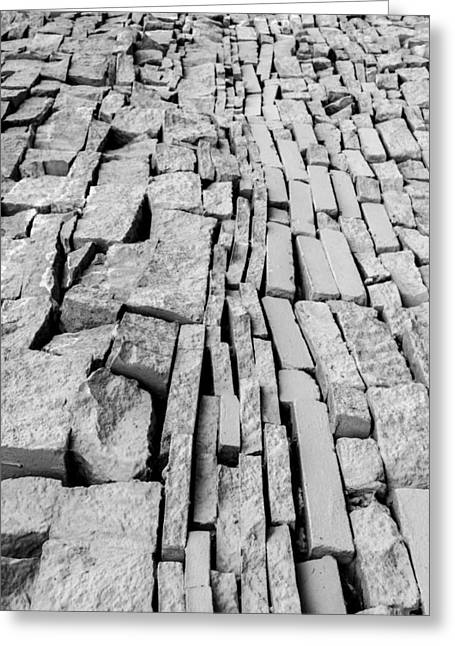 Stepping Stones Greeting Cards - Black and White Tiled Urban City Wall Greeting Card by John Williams
