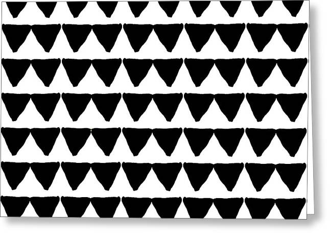 Black And White Triangles- Art By Linda Woods Greeting Card by Linda Woods