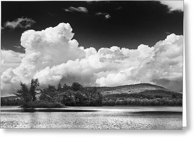 Thunderstorm Greeting Cards - Black And white Vienna Maine Flying Pond With Storm Clouds Fine Art Print Greeting Card by Keith Webber Jr