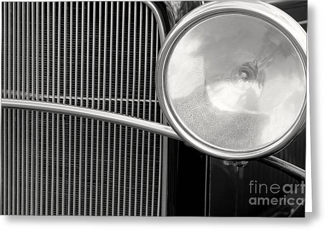 Black And White Vintage Car Abstract 1 - Natalie Kinnear Photogr Greeting Card by Natalie Kinnear