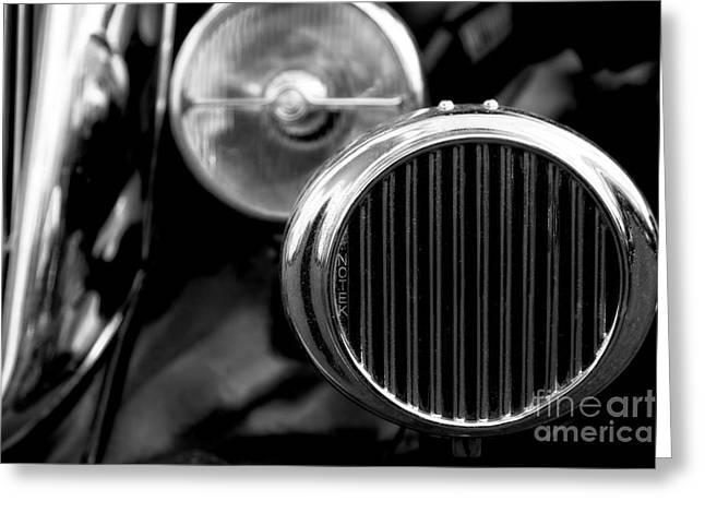 Black And White Vintage Car Abstract 2 - Natalie Kinnear Photogr Greeting Card by Natalie Kinnear
