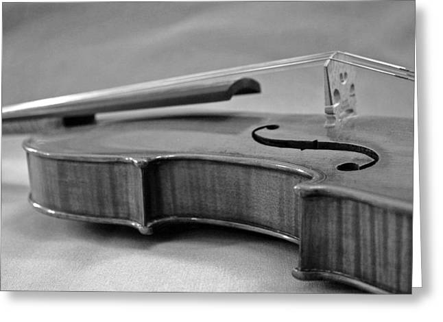 Chello Greeting Cards - Black And White Violin Greeting Card by Gabe Knowls