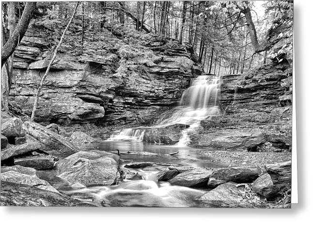 Nature Greeting Cards - Black and White Water Falls Greeting Card by Brian Mollenkopf
