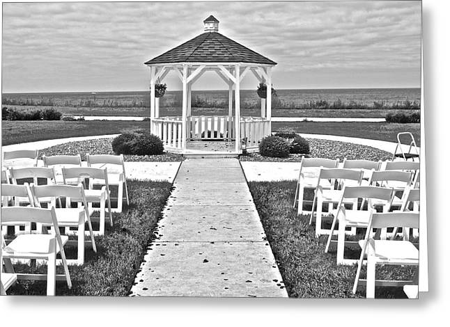 Wedding Chapel Greeting Cards - Black and White Wedding Greeting Card by Frozen in Time Fine Art Photography