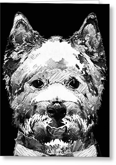 Westie Greeting Cards - Black And White West Highland Terrier Dog Art Sharon Cummings Greeting Card by Sharon Cummings