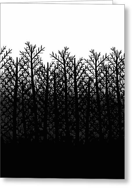 Gradations Drawings Greeting Cards - Black and White Winter Trees Greeting Card by Rachel Follett