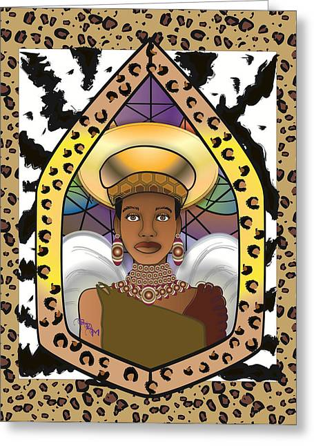 Gold Earrings Greeting Cards - Black Angel Greeting Card by Brenda Dulan Moore