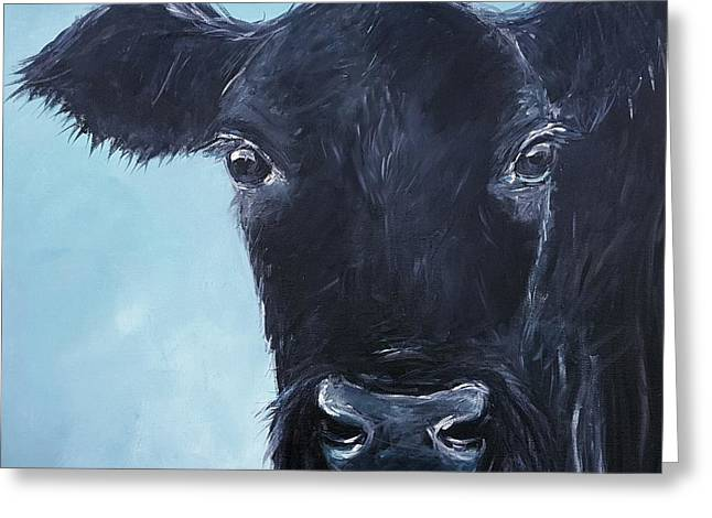 Angus Steer Greeting Cards - Black Angus Aggie Greeting Card by Karen King