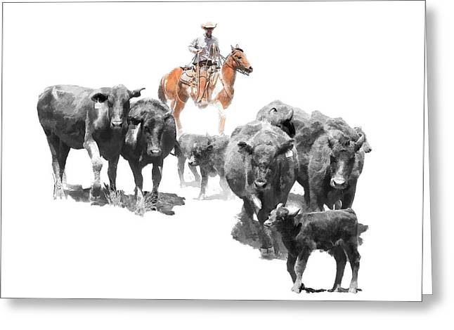 Ranch Greeting Cards - Black Angus Greeting Card by Dewain Maney
