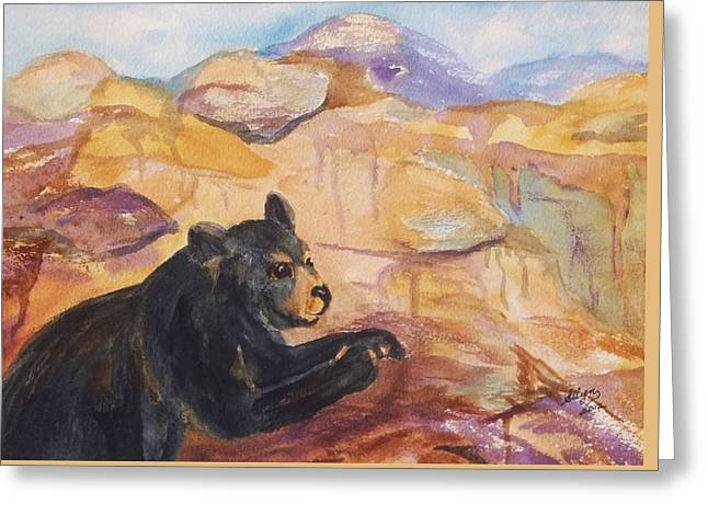 Decorate Greeting Cards - Black Bear Cub Greeting Card by Ellen Levinson