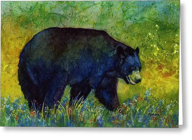 E Black Greeting Cards - Black Bear Greeting Card by Hailey E Herrera