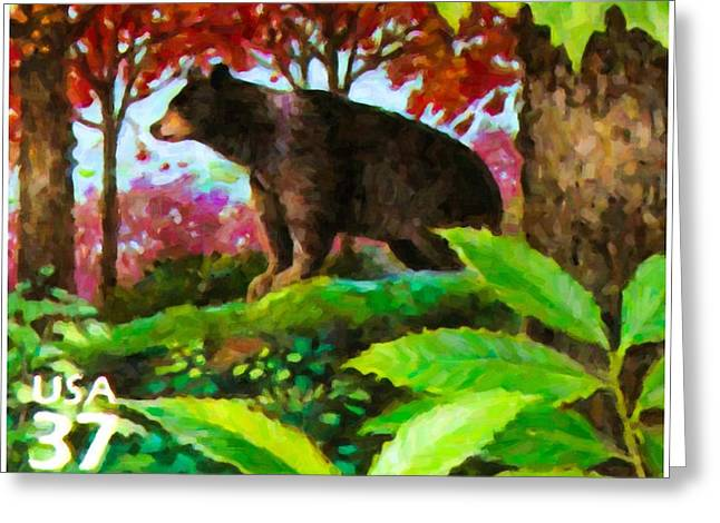 Alertness Paintings Greeting Cards - Black bear Greeting Card by Lanjee Chee