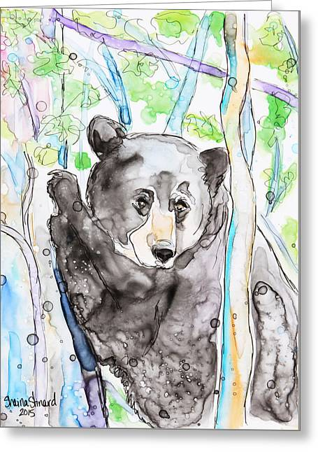 Black Bear On The Bruce Greeting Card by Shaina Stinard