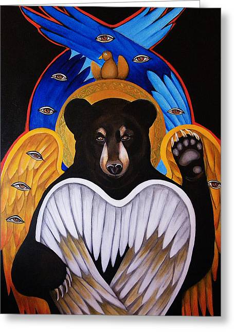 Black Bear Seraphim Greeting Card by Christina Miller