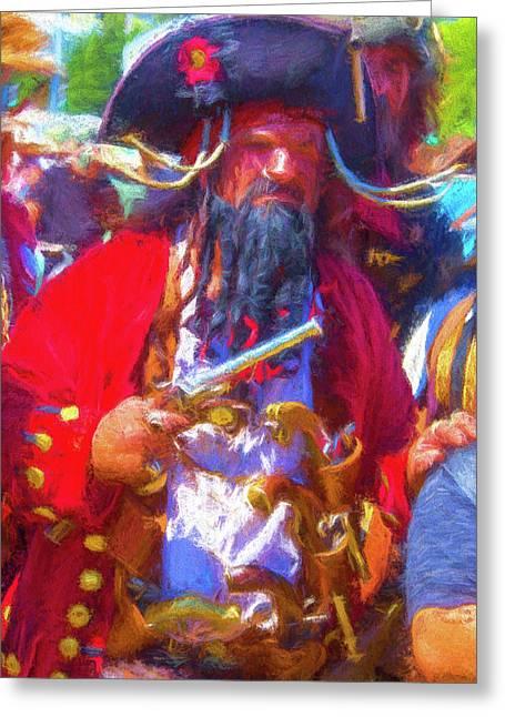 Black Beard Pirate Greeting Card by Garry Gay