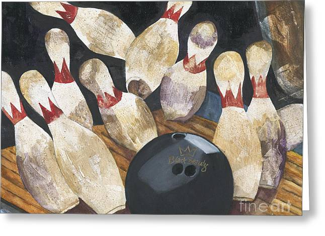 Bowling Greeting Cards - Black Beauty Greeting Card by Barb Pearson