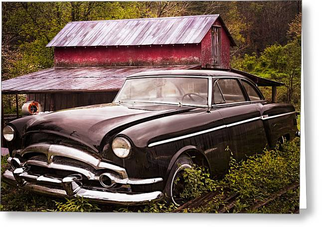 Old Barns Greeting Cards - Black Beauty Greeting Card by Debra and Dave Vanderlaan