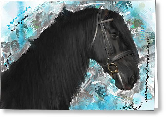 The Horse Greeting Cards - Black Beauty Greeting Card by Donald Pavlica