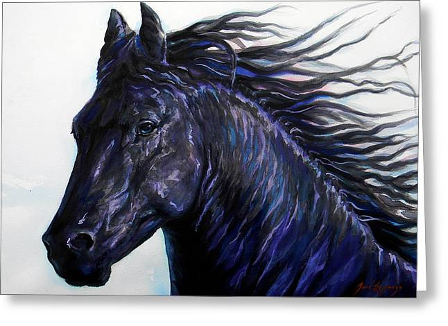 Unique Art Drawings Greeting Cards - Black Beauty Greeting Card by Jose Espinoza