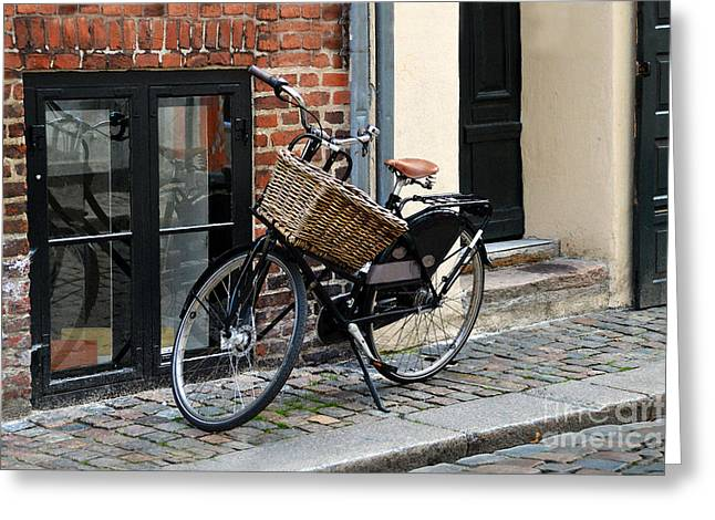 Catherine Wheel Greeting Cards - Black Bicycle with Big Basket in Copenhagen Greeting Card by Catherine Sherman