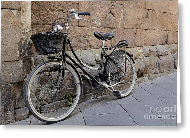 Lucca Greeting Cards - Black Bike on the streets of Lucca Italy Greeting Card by Edward Fielding