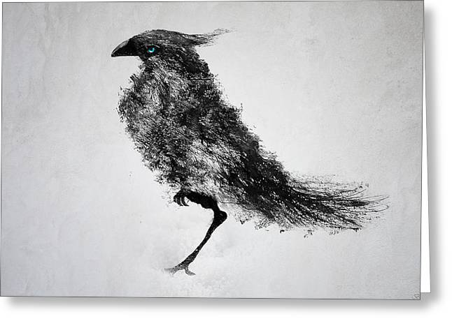 Mystic Art Greeting Cards - Black Bird Greeting Card by Teun Van der Beek