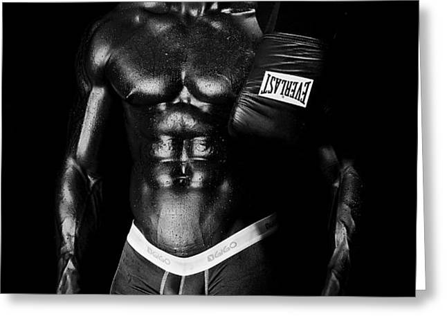 Black Boxer in Black and White 02 Greeting Card by Val Black Russian Tourchin