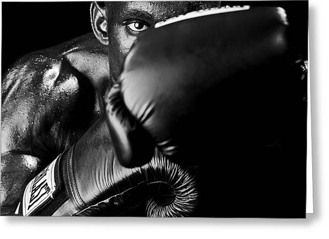 Black Boxer in Black and White 04 Greeting Card by Val Black Russian Tourchin