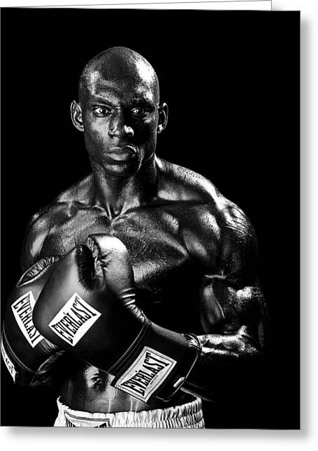 Black Boxer In Black And White 05 Greeting Card by Val Black Russian Tourchin