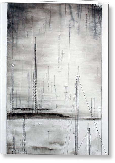 Transmission Drawings Greeting Cards - Black Breeze Greeting Card by Beth Anne Martin
