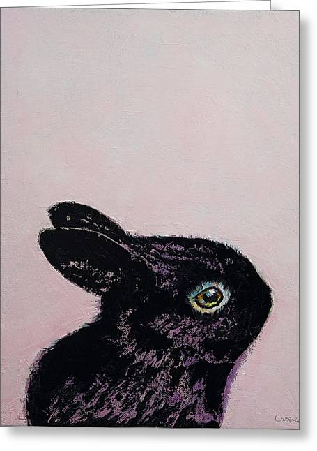 Black Bunny Greeting Card by Michael Creese
