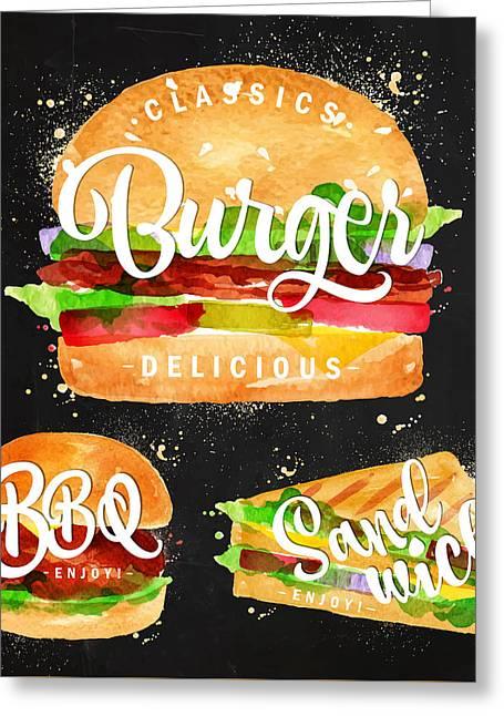 Black Burger Greeting Card by Aloke Design