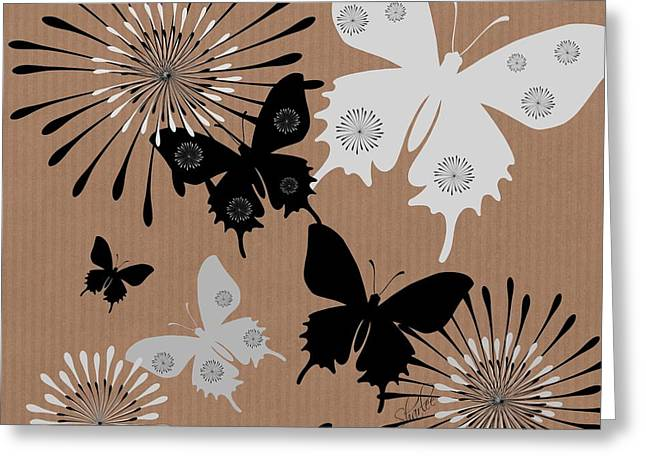 Black Butterflies Greeting Card by Sharon Johnston