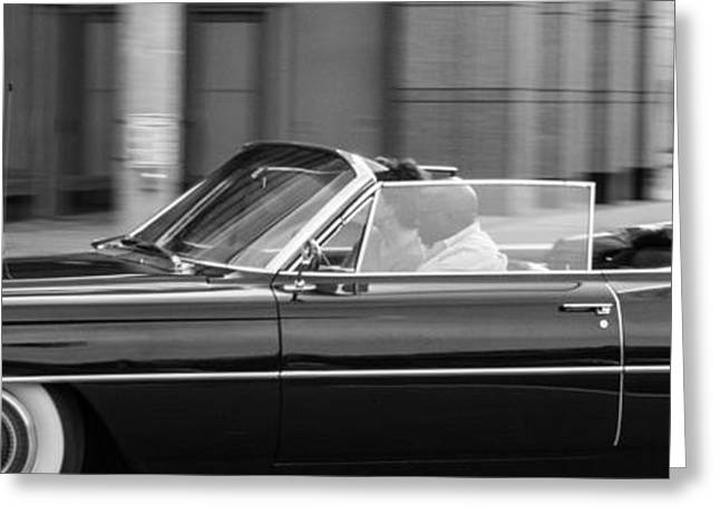 Black Top Greeting Cards - Black Cadillac Convertible Greeting Card by Steven Green