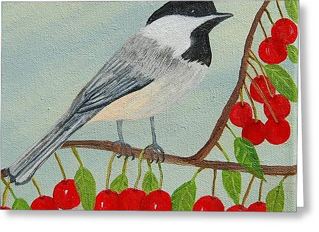 Ruth Housley Greeting Cards - Black-Capped Chickadee and Cherries SOLD Greeting Card by Ruth  Housley
