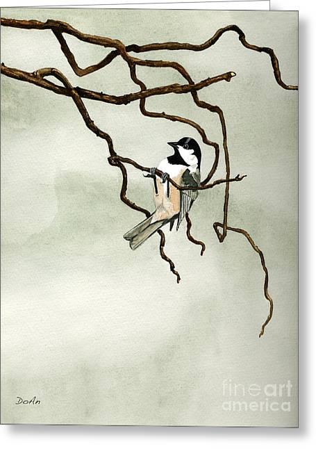 Acrobat Greeting Cards - Black Capped Chickadee Greeting Card by Antony Galbraith