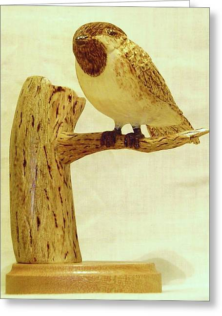 Black Sculptures Greeting Cards - Black-Capped Chickadee Greeting Card by Russell Ellingsworth