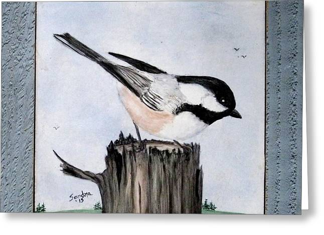 Sky Ceramics Greeting Cards - Black-capped Chickadee Trivet Greeting Card by Sandra Maddox
