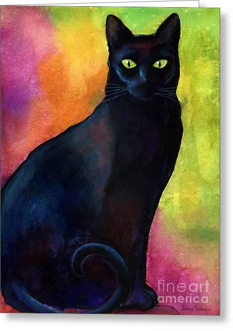 Black Cat 9 Watercolor Painting Greeting Card by Svetlana Novikova
