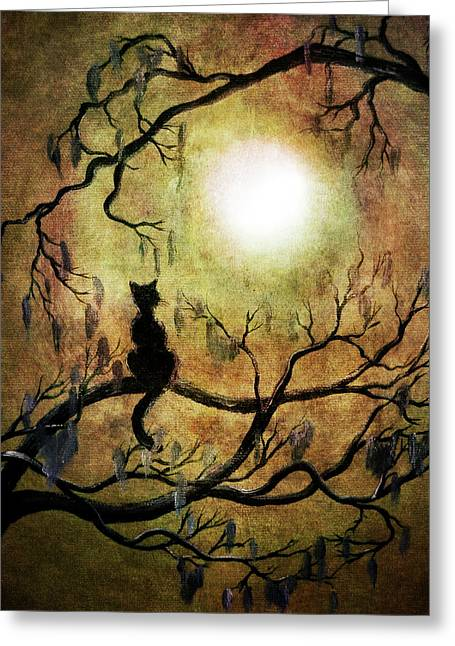 Black Cat And Full Moon Greeting Card by Laura Iverson
