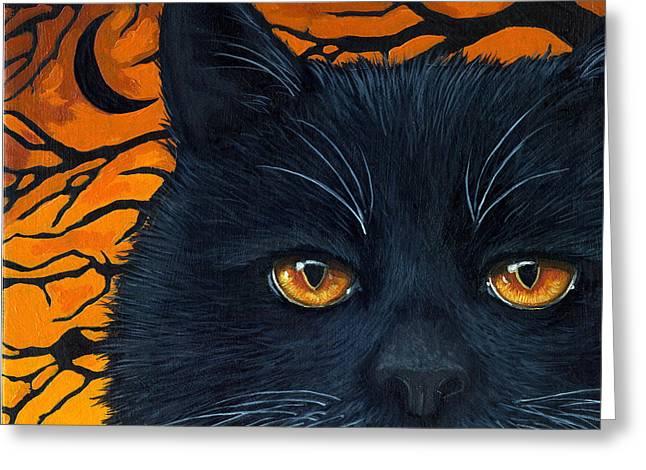 Linda Apple Paintings Greeting Cards - BLACK CAT and MOON Greeting Card by Linda Apple