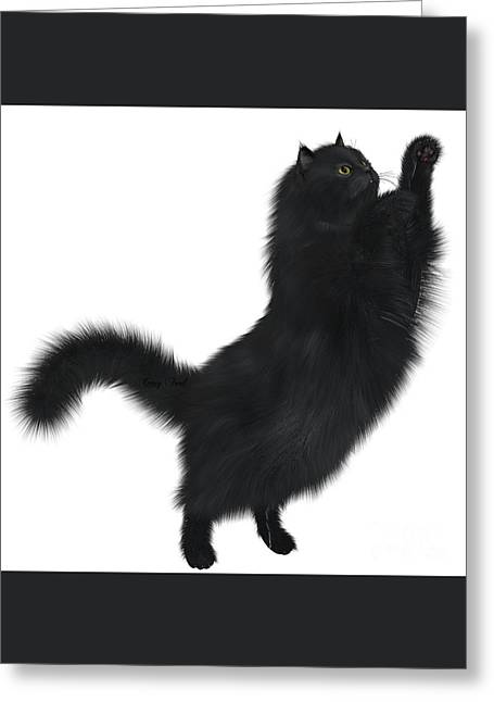 Black Cat Greeting Card by Corey Ford